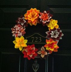 Fall in in the air! Make a cute fall flower leaf for your door!   What you will need: Felt (Got ours on sale 4/$1 at Joann's) Styrofoam Cir...