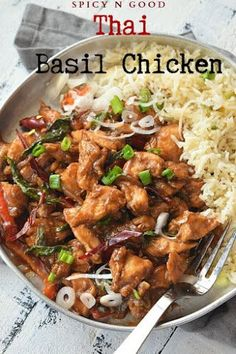 Spicy,easy Thai Food recipe for all spicy food cravings - its Easy Thai Basil Chicken! Spicy,easy Thai Food recipe for all spicy food cravings - its Easy Thai Basil Chicken! Spicy Thai Basil Chicken Recipe, Yummy Chicken Recipes, Yum Yum Chicken, Spicy Recipes, Healthy Recipes, Thai Food Recipes Easy, Thai Basil Recipes, Balsamic Chicken, Chicken Meals