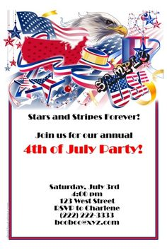 4th of July Party Invitations -  Get these invitations RIGHT NOW. Design yourself online, download and print IMMEDIATELY! Or choose my printing services. No software download is required. Free to try!