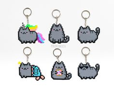 Pusheen the cat Keychain pixel art Pusheen Perler Hama beads 8bit Kawaii kitty by PXLprincess on Etsy