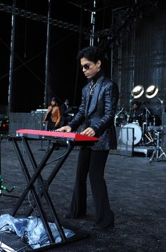I love this pic because Prince looks so serious about getting his sound right