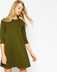 ASOS Swing Dress with 3/4 Sleeves in Texture