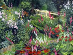 ~Cottage garden 'Koekeloeren' in August~~Artist..Leonie Bouwman-Verloop, a fellow pinner.