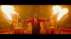 Hugh Jackman as The Greatest Showman with his circus of oddities and four fantastic female fire breathers! Featured as one of the fire breathers, Sasha the Fire Gypsy had a blast on set.