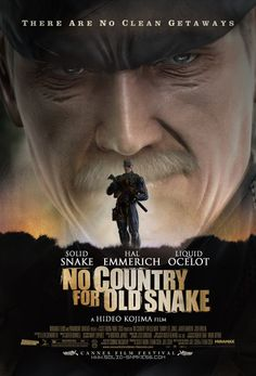 """""""No Country for Old Snake"""" It's a modified version of the """"No Country for Old Men"""" poster that I made last year with the old Solid Snake as the hero. No Country for Old Snake Metal Gear Solid Series, Geek Room, Man Cave Art, Gear Art, Video Game Art, Amazing Art, Videogames, Gears, Pop Culture"""