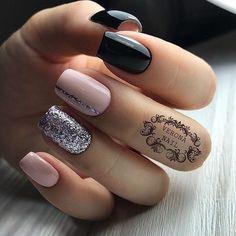 Nude black glitter nails #GlitterNails