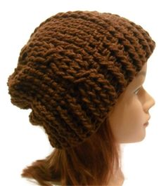 Crochet Cabled Slouchy Beanie Hat in Chocolate by AddSomeStitches, $25.00