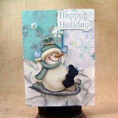 Happy Holidays Card Handmade Greeting Card by CardsByKitty on Etsy