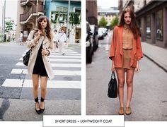 Short dress + lightweight coat - Silhouette Style Guide
