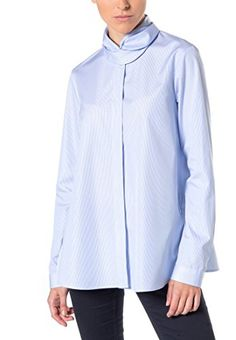 eterna Women s Modern Fit Langarm Hellblau Gestreift Mit Hemd-Kragen  Blouse, Blau (Hellblau e567382ca9