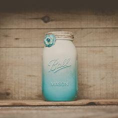 Painted mason jar. Wedding centerpieces. by StyleJarsandCans, $13.00