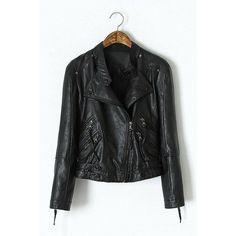 Yoins Yoins Leather Biker Jacket (€34) ❤ liked on Polyvore featuring outerwear, jackets, black, yoins, coats & jackets, asymmetrical zip jacket, real leather jacket, high neck jacket, faux leather jacket and moto jacket