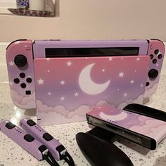 Cute Lunar Sky Skin For The Nintendo Switch Gamer Console Nintendo Switch Accessories, Gaming Accessories, Nintendo Switch Case, Gaming Room Setup, Gaming Desk, Video Game Rooms, Video Games, Kawaii Room, Game Room Design