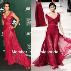 ES01 Halle Berry Lace Poly Chiffon Red Carpet Maxi Gowns Elie Saab Evening Dresses-in Evening Dresses from Apparel & Accessories on Aliexpress.com
