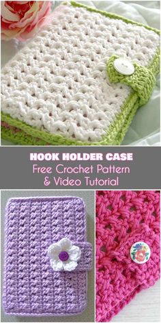 Crochet Hook Holder Case [Free Pattern and Video Tutorial] Why not crochet things to help you crochet? I have adored this crochet hook holder from the moment I saw it. The pattern was written Crochet Book Cover, Crochet Hook Case, Crochet Pouch, Crochet Books, Crochet Purses, Crochet Things, Crochet Gratis, Diy Crochet, Crochet Motifs