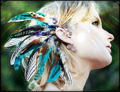 sequoia nights tribal feather ear cuff 2 pairs by SpiritTribe Feather Jewelry, Ear Jewelry, Feather Earrings, Feather Headdress, Jewellery, Hippy Fashion, Accessoires Photo, Tribal Feather, Feathered Hairstyles