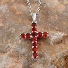 Jalisco Cherry Fire Opal Cross Pendant in Platinum Overlay Sterling Silver (Nickel Free) with Stainless Steel Chain