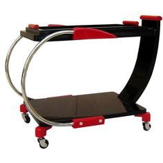 American Art Deco Streamline Red and Black Lacquer Serving Cart | 1stdibs.com