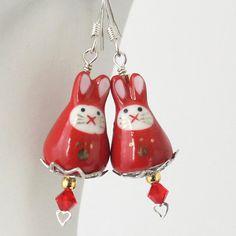 Kawaii Cute Charm  Ninja Bunny Rabbit Bright Red Bunny by Buntique, $7.00