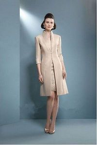 Coat/Outfit Mother Of Bride Knee Length Dress Strapless Formal Dress ...