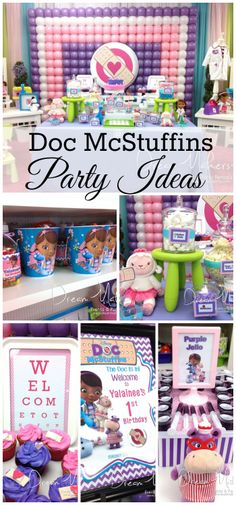 Loving all these great Doc McStuffins party ideas at this girl birthday party! Third Birthday, 4th Birthday Parties, Birthday Fun, Birthday Ideas, Deco Ballon, Doc Mcstuffins Birthday Party, Festa Party, Party Ideas, Balloon Display