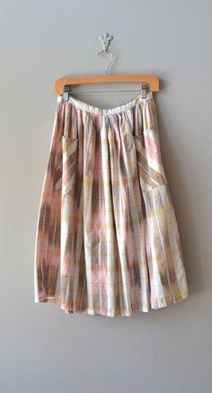 vintage plaid skirt / cotton plaid skirt / Ikat Plaid skirt