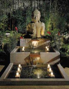 Buddha statue and fountain. Get the look at MIX! Balinese Garden, Asian Garden, Meditation Garden, Meditation Space, Jardin Zen Interior, Buddha Home Decor, Zen Garden Design, Zen Design, Modern Design