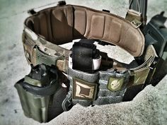 Getting the battle belt ready for the range. - Eric S. Tactical Belt, Tactical Clothing, Tactical Knives, Airsoft, Paintball, Camouflage, War Belt, Bug Out Gear, Battle Belt