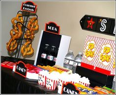Movie Night Snack Display, best/cheapest movie theme bday party pack I've seen thus far