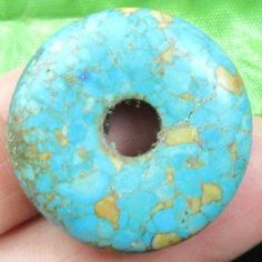 Man made Green Turquoise Donut Pendant Bead Green Turquoise, Donuts, Beads, Pendant, Frost Donuts, Beading, Beignets, Hang Tags, Bead