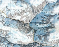 The Henry Washburn Shaded Relief Map of Mount Everest. Completed by Bundesamt für Landestopographie in 1988, this is a stunning example of a shaded relief map.