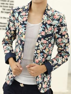 ****Floral Print Navy Blue PILAEO Multicolor Fashion Blazer   www.pilaeo.com #men's #luxury #fashion