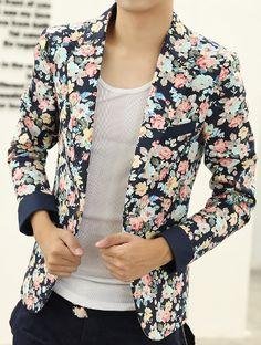 ****Floral Print Navy Blue PILAEO Multicolor Fashion Blazer | www.pilaeo.com #men's #luxury #fashion