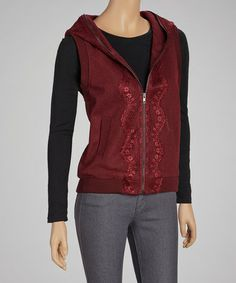 Take a look at this Burgundy Lace-Trim Hooded Vest by Ruby Rose on #zulily today!