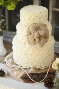 Rustic cake with burlap. Could do the burlap in sugar veil??
