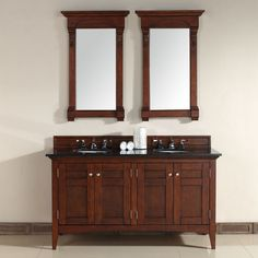 "North Hampton 60"" Traditional Double Sink Bathroom Vanity in Warm Cherry by James Martin  Model #: 900-V60D-WCH-ABK"