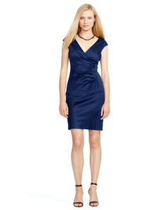 Satin Cap-Sleeve Dress - Lauren Short Dresses - RalphLauren.com