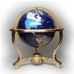 Replogle Gemstone World Globe Brass Cherub by silvergoldbuyers