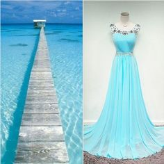 Cute Blye Chiffon Long Prom Dress with Beadings Sweep Train Popular A-line Evening Dress. summer beach dress, long prom dress, blue chiffon prom dress, cute evening dress, beach causal dress suzhoudress.com
