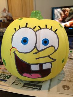 SpongeBob Painted Pumpkin - Halloween. $18.00, via Etsy.