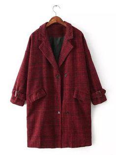 Stylish Lapel Plaid Loose 3/4 Sleeve Long Worsted Coat For Women