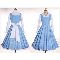 Disney Princess Beauty and The Beast Belle Blue Dress Cosplay Costume Handmade Custom All Sizes Comic Con Halloween Adult featuring polyvore, women's fashion, clothing, costumes, dresses, cosplay, disney, adult cartoon costumes, disney costumes, adult belle costume, adult princess halloween costumes and princess halloween costumes