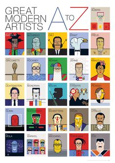 Great Modern Artists Alphabet I LOVE THIS! Get kids to design a modern artists alphabet poster of their own- another idea is their own A-Z of contemporary art artists Art History Timeline, Art History Lessons, History Posters, History Memes, Art Lessons, History Major, History Projects, History Books, History Facts