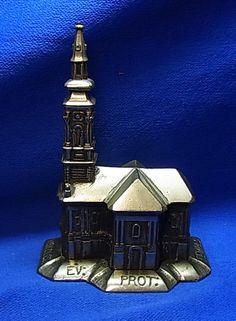 Vintage Metal Souvenir Building Church Miskolczi ev: Prot: Tomplom. #AD