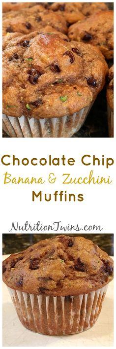 Chocolate Chip Banana & Zucchini Muffins