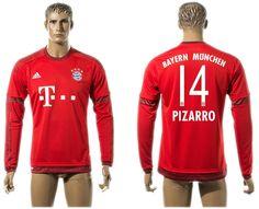 Thailand 2015-2016 Bayern Munich #14 PIZARRO Home Red Long Sleeve Soccer Jersey