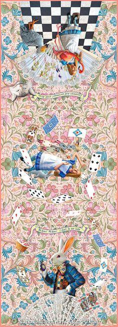 The White Rabbit, pink version, pure silk-satin scarf/wrap.
