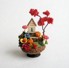 Miniature Charming Autumn Whimsy House in Acorn by ArtisticSpirit   pinned by @weememories - Jenny Suchin