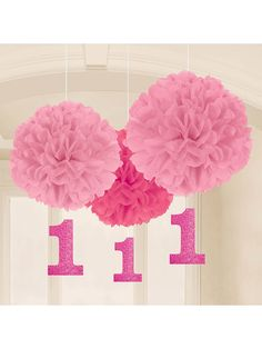 1st Birthday Pink Fluffy Hanging Decorations (16 Pack) - Party Ideas & Supplies