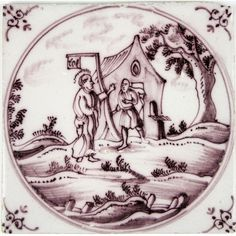 Dutch Delft tile with Jesus and Zacchaeus
